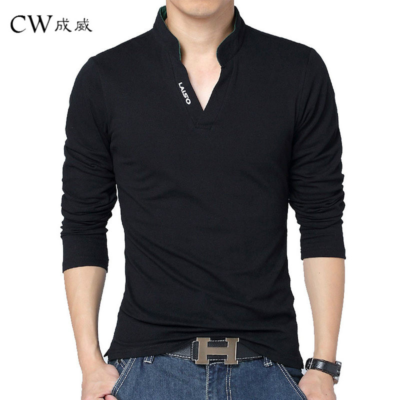 Hot Sale New 2018 Fashion Brand Men   polo   shirt Solid Color Long-Sleeve Slim Fit Shirt Men Cotton   polo   Shirts Casual Shirts 5XL