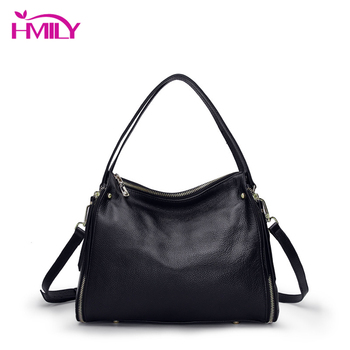 HMILY Women Messenger Bags Genuine Leather Female Handbag Shoulder Bag Cowskin Designer Luxury Brand Boston Crossbody Bag