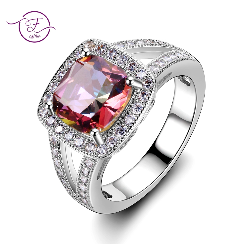 Classsic Wedding Rings Square Gemstone Topaz 925 Silver Ring For Women Bridal Jewelry Accessories Engagement Party Gift New 2018
