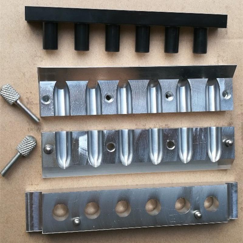 1 компл. 12.1 мм алюминий Губная помада плесень 6 полостей отверстиями для DIY губы плесень заполнение формы водослива Форма хорошее качество