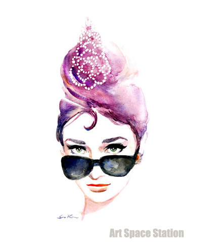 bd96a510174c Audrey Hepburn Iconic Sunglasses - Breakfast at Tiffany's Watercolor  Portrait Painting,Sexy Girl Art handmade home office decors