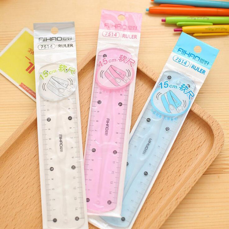 1PC  Soft Ruler Double Scale Infinite Bending 15 Cm Ruler Students School Supplies Stationery Not Easy To Break Plastic Ruler