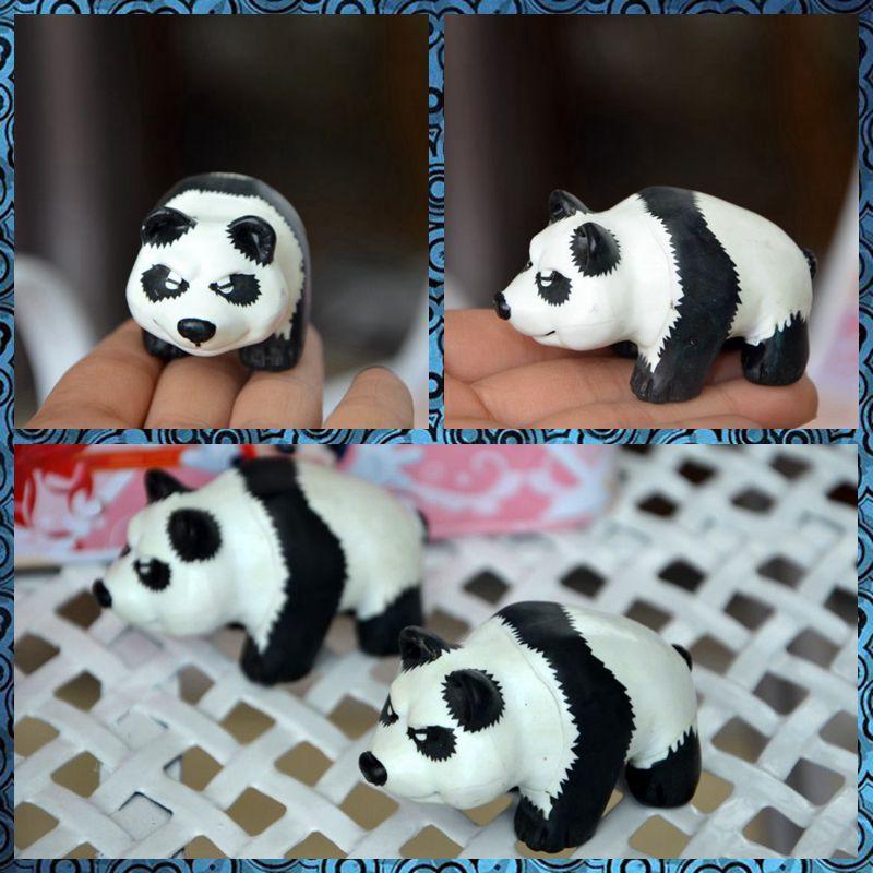 envo gratis unid angry panda oso mini figura pvc al por menor juguete planta suculenta