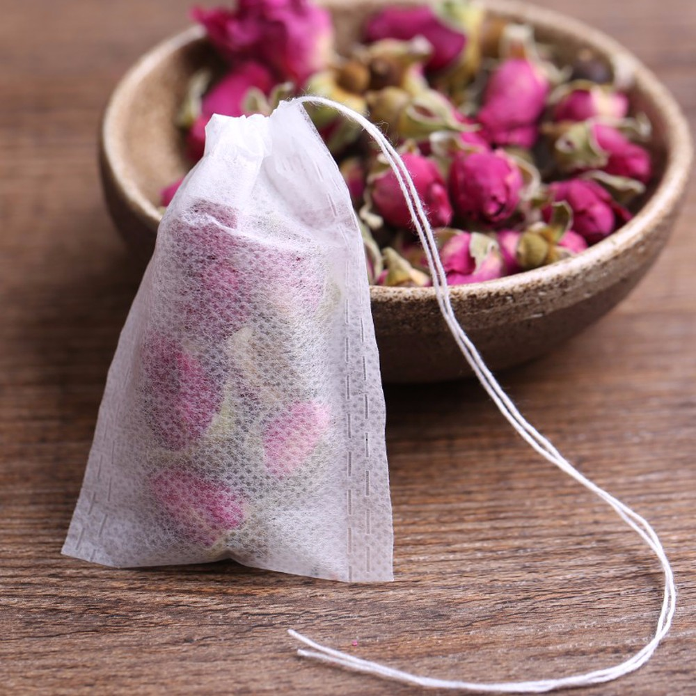100 Disposable Empty Tea Bags 5.5 X 7CM Drawstring Paper Teabags Filter Wholesale Bulk Lots Supplies Accessories Products