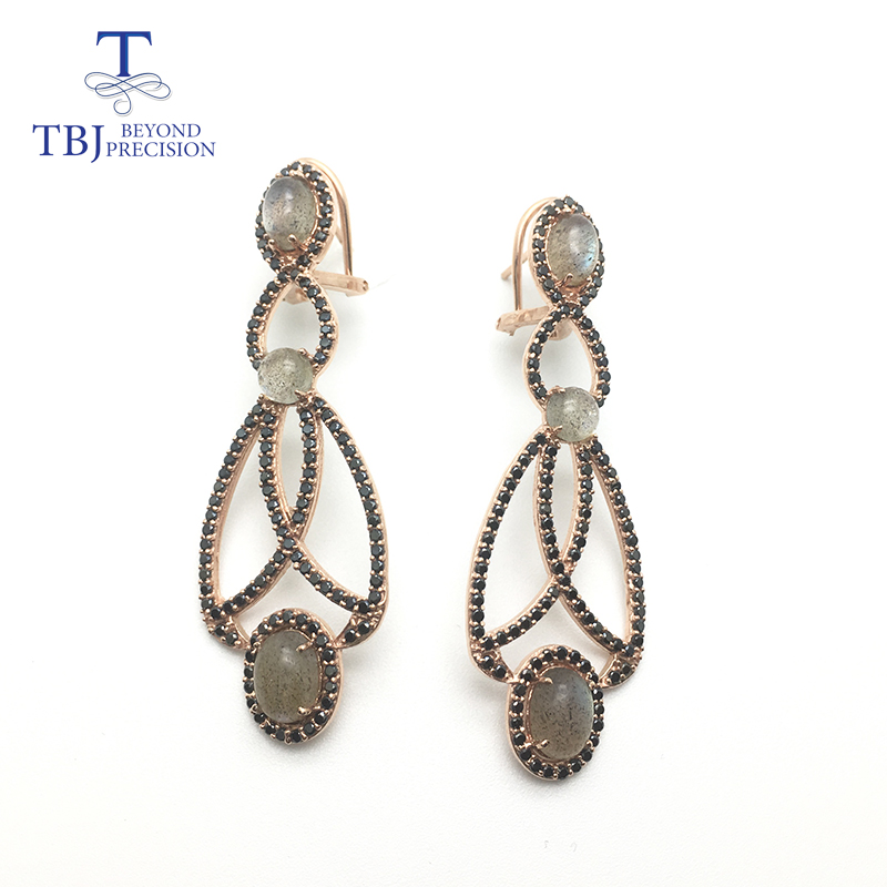 TBJ Long earring with natural Labradorite moonstone 925 sterilng silver rose gold fine jewelry for girls