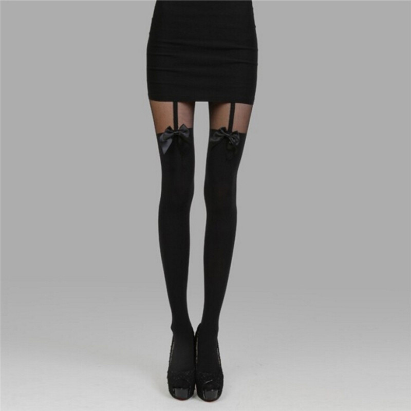3d6d7b3ec3b Women Sexy Black Stockings Thin Tights Bow Pantyhose Tattoo Mock Bow  Suspender Sheer Stocking Black Female