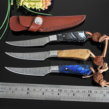 New survival knife Imitation Damascus pattern handmade hunting knife Stainless Steel camping tactical pocket Utility Knife gift
