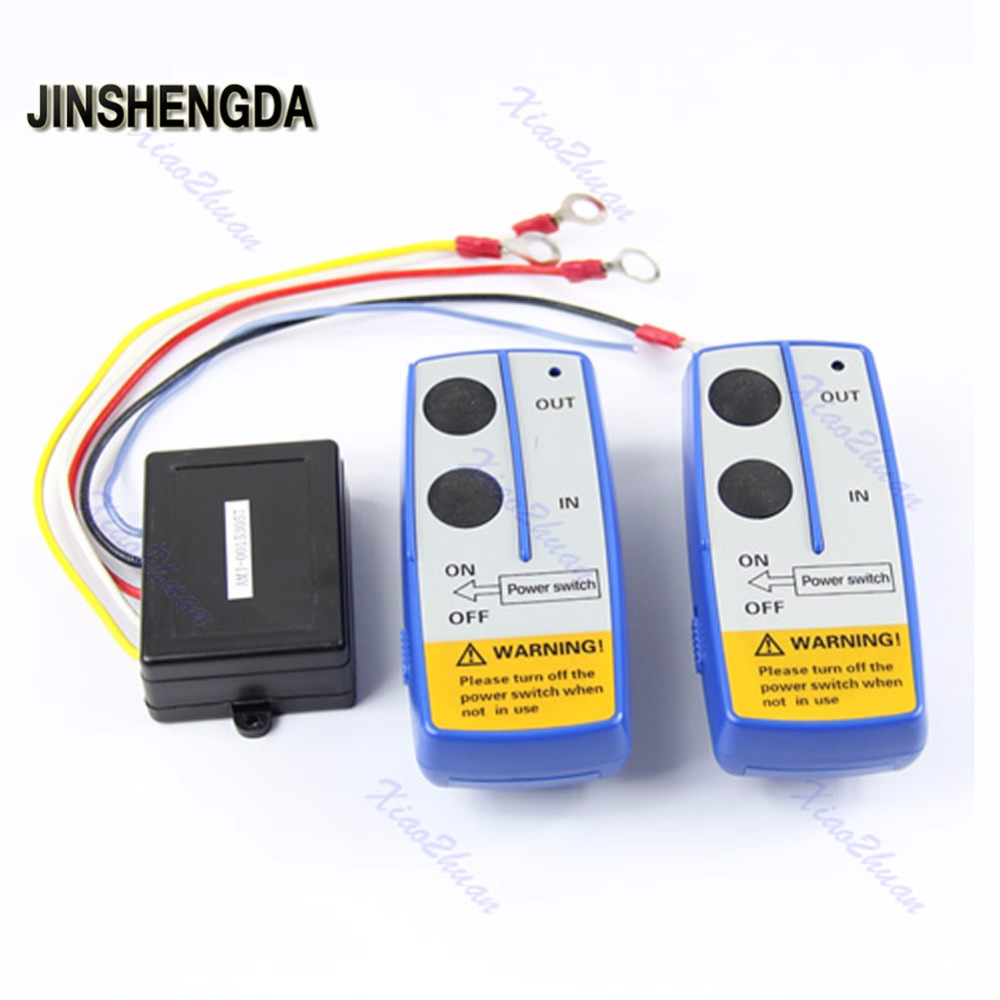 JINSHENGDA Remote Control Universal Wireless Winch Remote Control Switch Handset Kit 50ft 12V For Jeep ATV SUV UTV 2016 brand new high quality 50ft wireless winch remote control kit for jeep atv suv utv 12v switch handset
