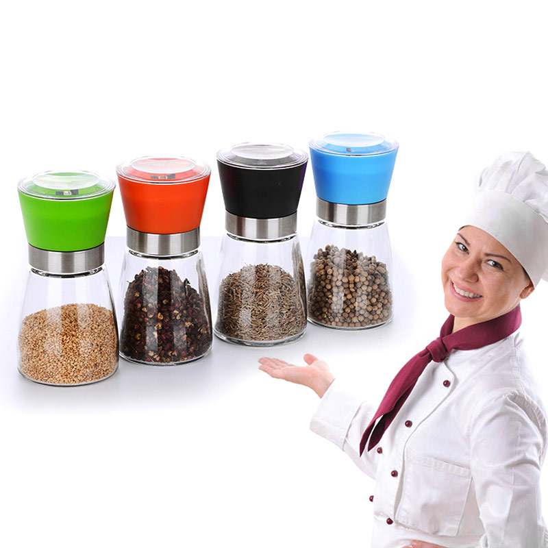 Hand Grinding Bottle Salt Pepper Mill Grinder Glass Shaker Spice Container Condiment Jar Holder Kitchen Tools