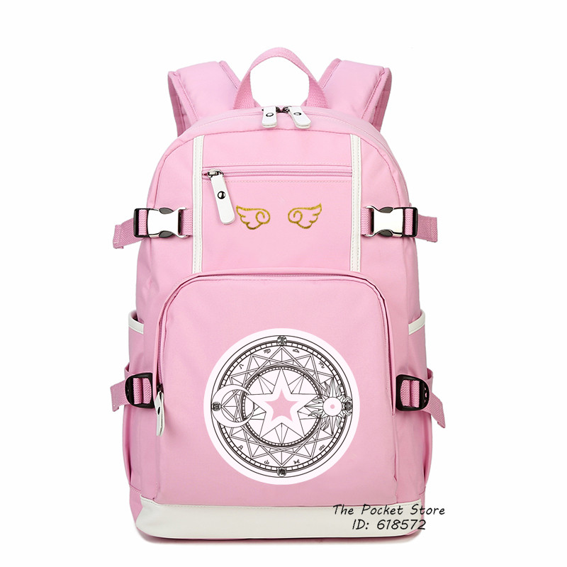 High Quality Card Captor SAKURA Printing Backpack Cardcaptor Sakura Canvas School Bags Lolita Women Backpack Mochila Feminina japanese comic card captor sakura wings schoold backpack magical card girl sakura cosplay backpack sakura wings bag