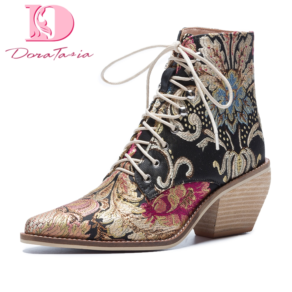 Doratasia 2018 Large Size 34-43 fashion Autumn Winter Boots Women Shoes Lace Up best quality embroidery Ankle Boots Shoes Woman 2018 new fashion ankle boots autumn winter women boots high heels boots lace up women shoes large size 34 43