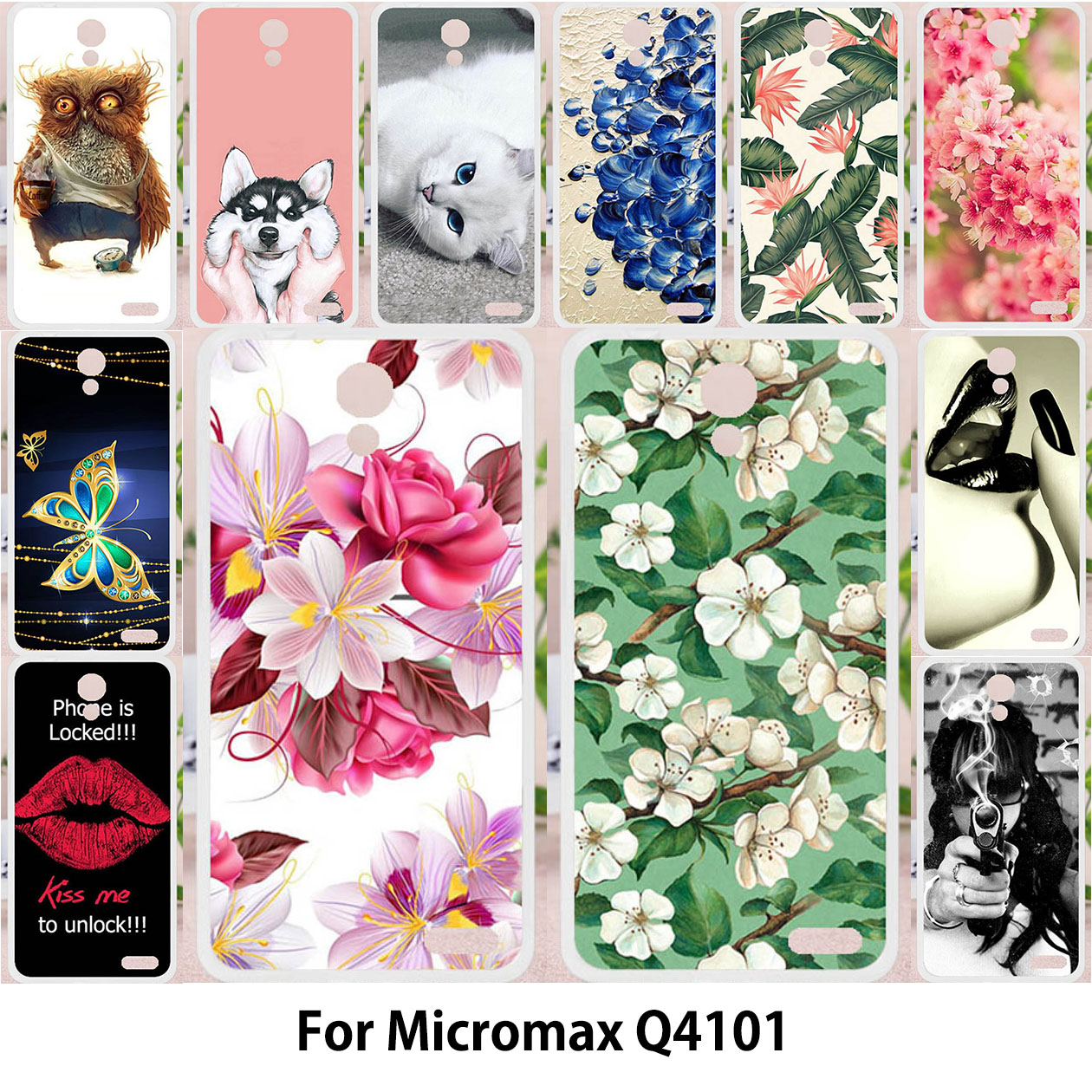 TAOYUNXI For Micromax Q4101 Video2 Case For Micromax Q4101 Bolt Warrior 1Plus Soft Painting Owl Cat Flower Cute Animal Patterned