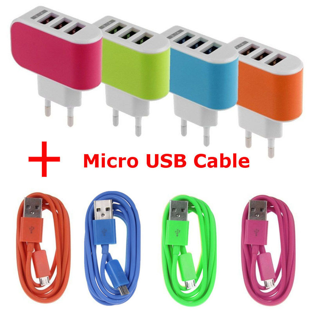 3.1A Triple USB Port Wall Travel AC Charger Adapter EU + Micro USB Cable car Adapter prise usb Charger plug Travel HOT