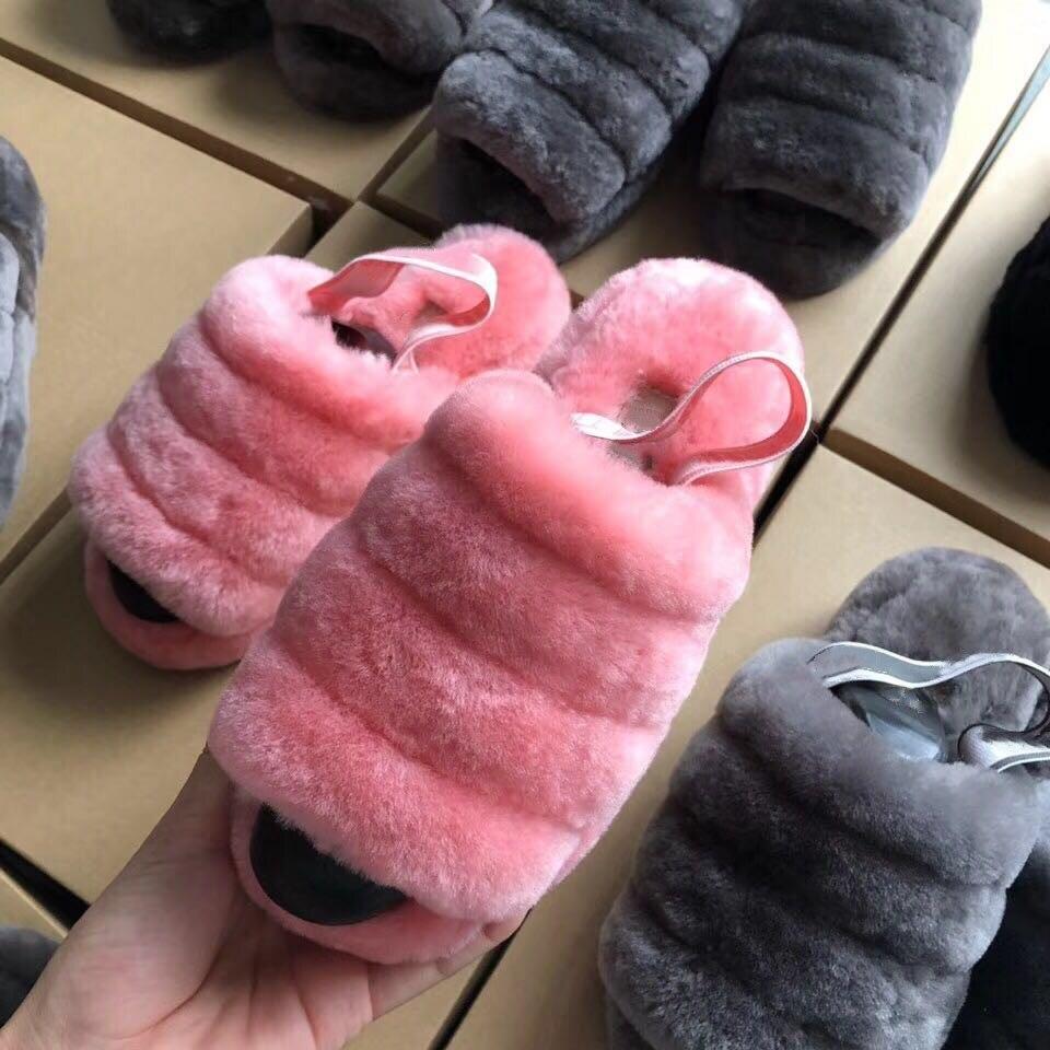 grwg New Women Natural Sheepskin Home Slipper Winter Women Indoor Slippers Fur Slippers Wool Flip Flops Slipper Lady Home Shoes