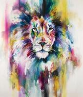 X Series The King of The Đồng Bằng Châu Phi Sư Tử Dầu Chân Dung Trên Vải Đầy Màu Sắc Lion Head Oil Painting Đối Living Room