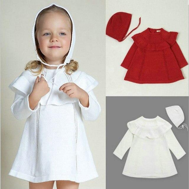 f9e8510b2 Autumn winter baby Girls cotton white sweater dress cute knitted ...