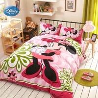 Disney Light Pink Minnie Mouse Bedding Sets Girls Bedroom Decor 100% Cotton Bedsheet Duvet Cover Set 3/4pcs Twin Queen Size