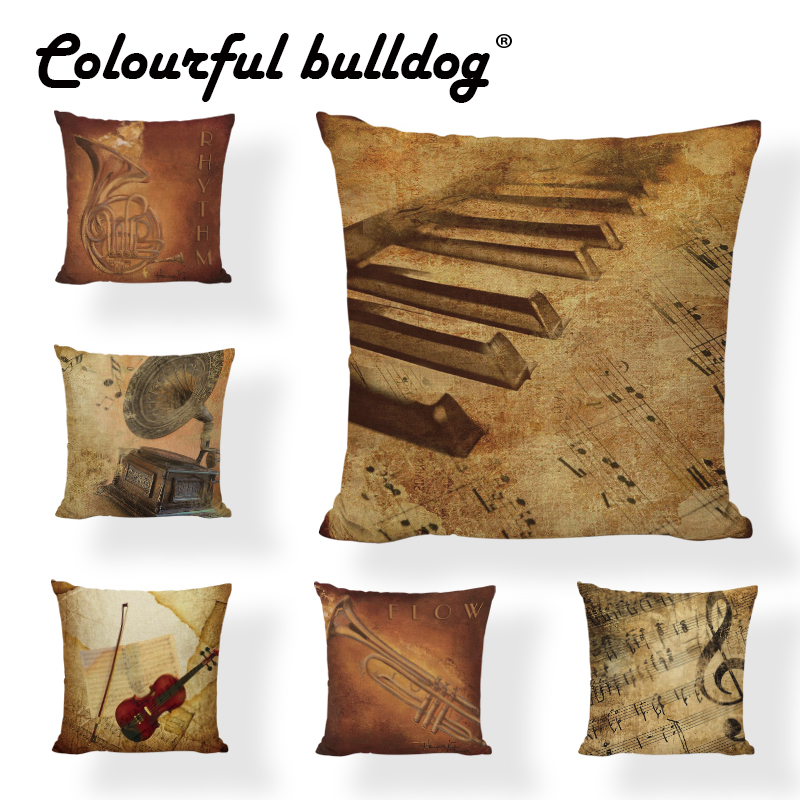 Wholesale Shabby Chic Retro Style Cushion Cover Music Score Violin Piano Music Notes Home Couch Decor Bed Car Seat Pillow Case