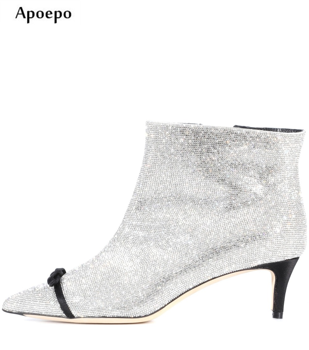 New Hot Selling Bling Bling Crystal Embellished High Heel Boots 2018 Pointed Toe Butterfly-knot Decorations Woman Ankle Boots denim blue thin heels boots new fashion bling bling crystal embellished high heel boots sexy pointed toe lace up ankle boots