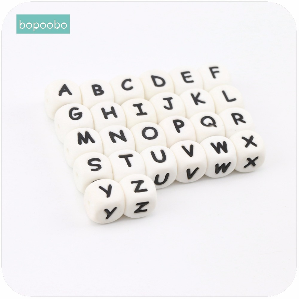 Bopoobo Baby Nursing Accessories 12mm 10pc Silicone Letter Beads Can Chew DIY Teething Jewelry Crib Toy Baby Teether