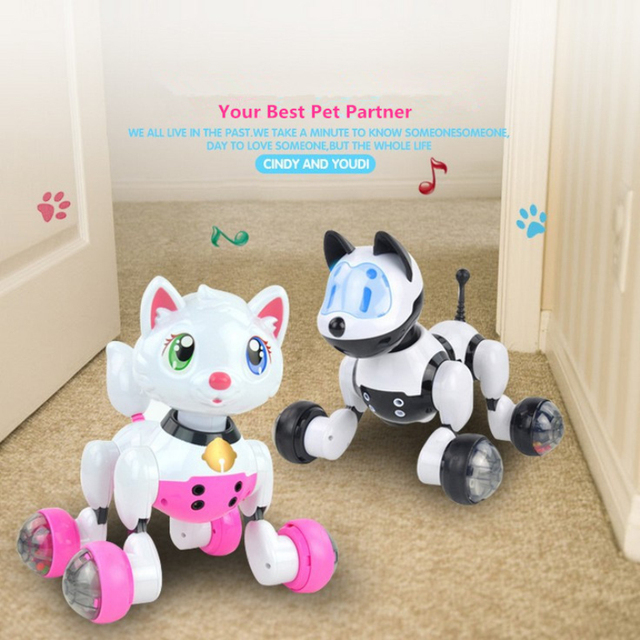 Educational intelligent Voice Control Electric Pet Cat Dog Toy Robot Dog Robot Cat Baby Kids Toy