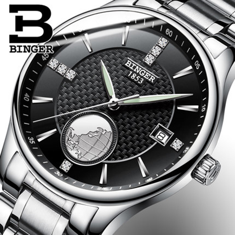 Genuine Switzerland BINGER men waterproof stainless steel black dial automatic mechanical watch 18K gold business calendar genuine switzerland binger brand men automatic mechanical luminous calendar waterproof sports chronograph military gold watch