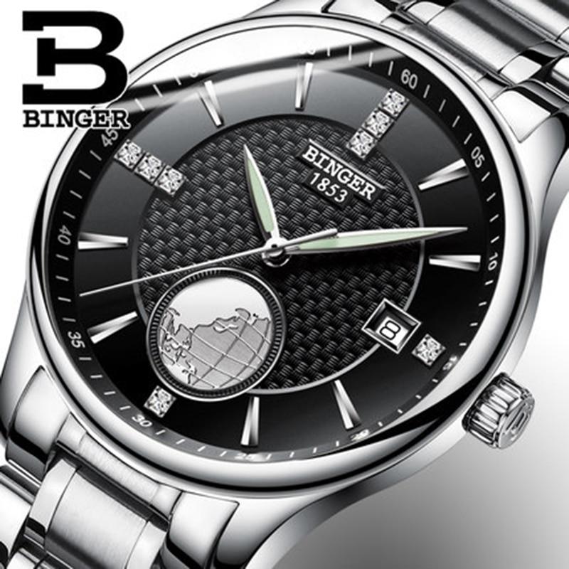 все цены на Genuine Switzerland BINGER men waterproof stainless steel black dial automatic mechanical watch 18K gold business calendar