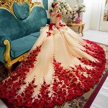 Vestido De novia personalizado nuevo Vestido De champán para fiesta De boda flores De mano 1M tren vestidos De princesa para novias para Formal Prom Wear