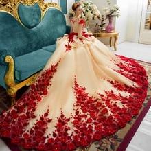 Custom Vestido De Noiva New Champagne Dress for Wedding Party Hand Flowers 1M Tr