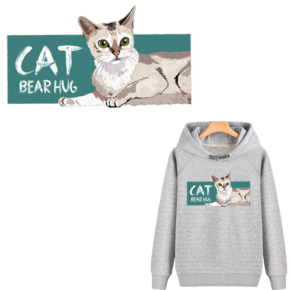 cute cat iron patches for clothing stripe girls stickers iron on transfer for T shirt hoodies diy patch thermocollants vetement in Patches from Home Garden
