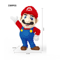 Funnly cartoon game image building block super mario bros assemable model bricks toys collection for kids adults gifts