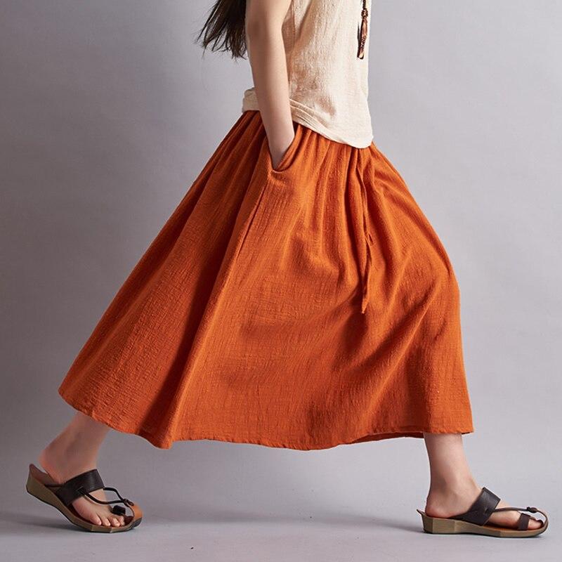 Summer Style Solid Cotton Linen Women Long Skirt Brand Casual Loose Skirts Women Mori Girl Linen Maxi Skirt Saia Feminina B001