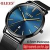 OLEVS Luxury Ultra Thin Quartz Watches For Men Male Stainless Steel Mesh Strap Calendar Waterproof Business