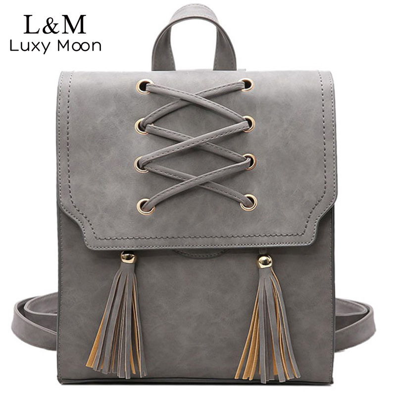 2017 New Fashion Backpack Tassel Women Solid Backpacks PU Leather School Bags For Teenager girls Vintage