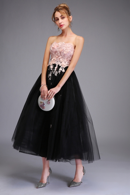 Strapless Sleeveless Lace Appliques Tea-length Party Gown Formal Dress