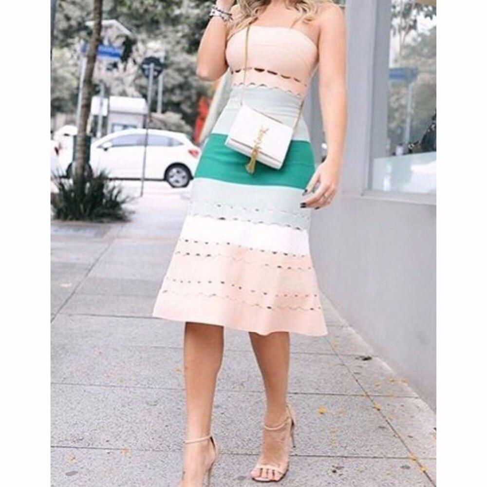 Ladies Sexy Strapless Patchwork A Line Bandage Dress 2018 Knitted Elegant Designer Dress