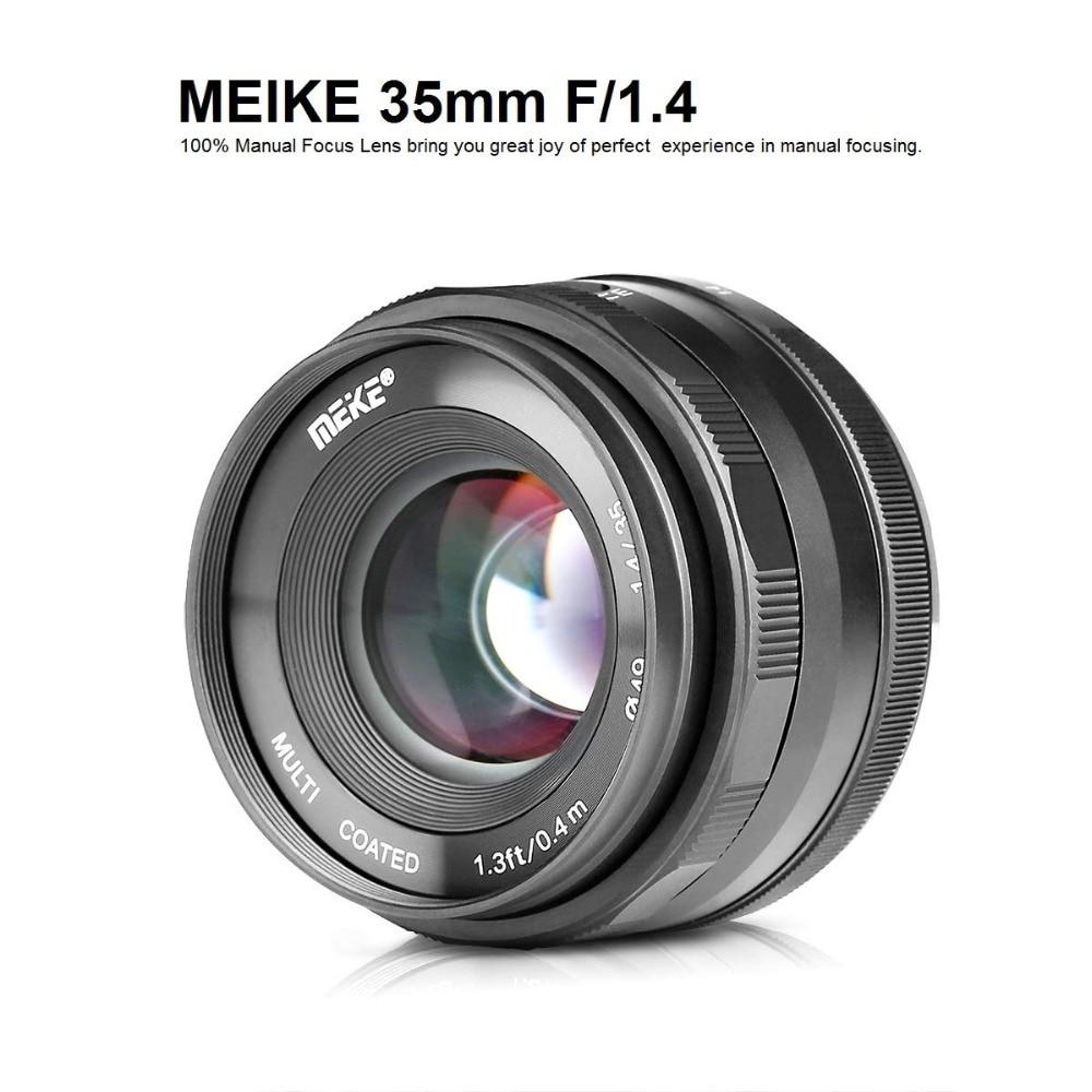 Meike 35mm f1.4 lentille de Mise Au Point Manuelle pour Sony e-mount A7R A7S A6500 A7/Fuji X-T2 X-T3/Canon EOS-M M6/M4/3 Appareil Photo Hybride + APS-C - 2