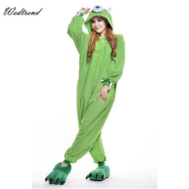 Adult Mike Wazowski Onesie Fleece Cartoon Sleepwear Costume Unisex Monsters  University Anime Kigurumi Halloween Pajama 6b8e7856d