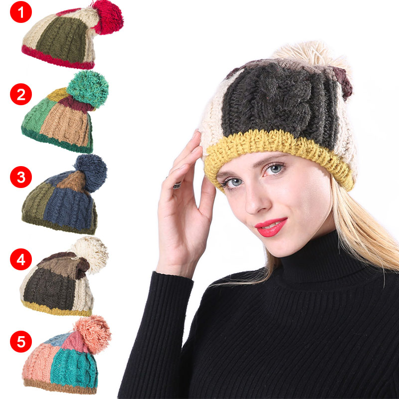 Newly Women Warm Ball Cap PomPoms Color Patchwork Thick Knitted   Skullies     Beanies   Hat