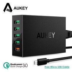 AUKEY USB Зарядное устройство 5 Порты и разъёмы 54 Вт Quick Charge 3,0 2,0 быстрый мобильный телефон Зарядное устройство для iPhone X 8 7 6s SE Xiaomi Mi8 samsung Мощность ...