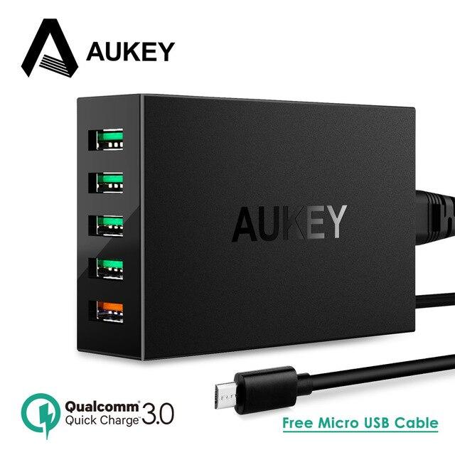 Cargador USB AUKEY 5 puertos 54 W carga rápida 2,0 3,0 cargador de teléfono móvil rápido para iPhone 7 6X8 s SE Xiaomi Mi8 Samsung Power Bank