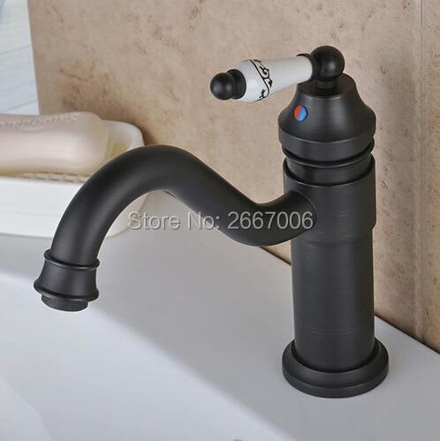 GIZERO Vintage rétro huilé frotté noir Bronze robinet pivotant Singe poignée bassin évier mitigeur robinet pont monté GI605