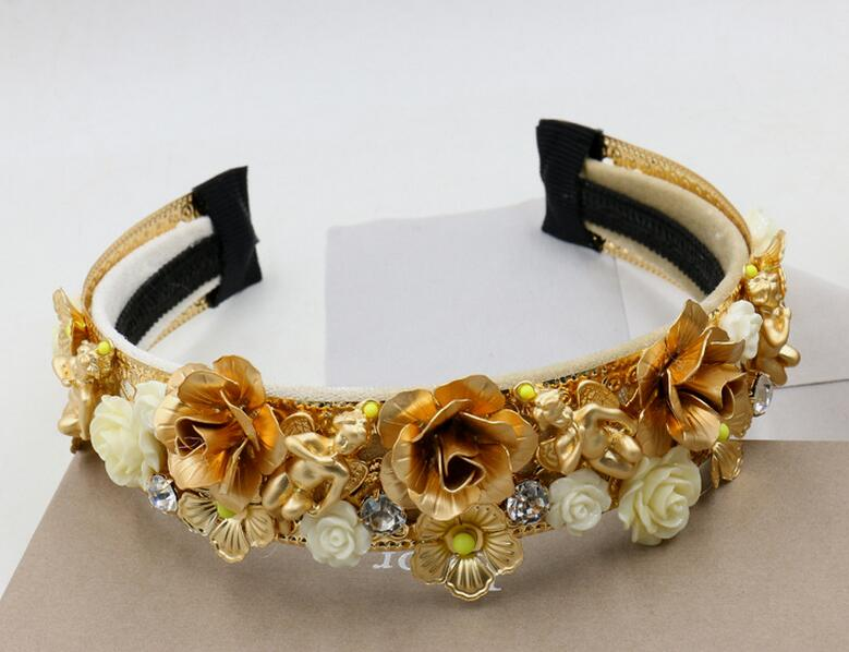 Baroque Vintage Metal Flowers Rose Hairbands 2016 New Gold