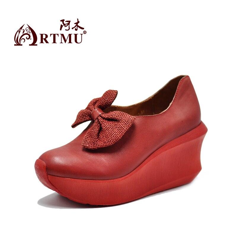 A Tacones Zapatos Grueso Artmu Mano 936 Cuero 52 Altos Inferior Dulce De Genuino red Mariposa Mujeres Pendiente Vaca Gray Hechos Las Original Plataforma xwTIPwv4