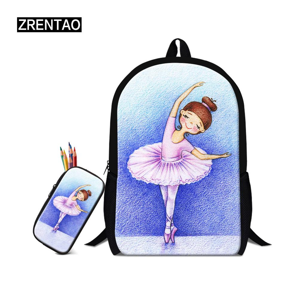 Ballet/Yoga Printing Cute Cartoon Children Kindergarten Baby School Backpack Sets With Pencilcase Teenage Boy Girl Mochila Bags