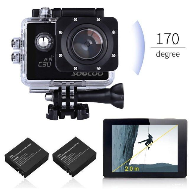 SOOCOO C30 Sports Action Camera Wifi 4K Gyro 2.0 LCD NTK96660 30M Waterproof Adjustable Viewing angles with Extra Batteries