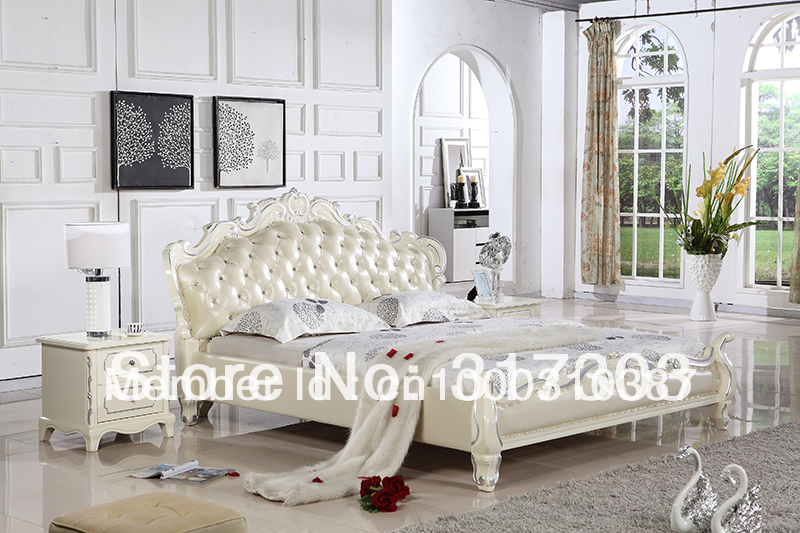 купить bedroom furniture leather bed, soft bed, 1.8 kingsize bed, factory wholesale price offered, sea shipment  modern design H8081 дешево