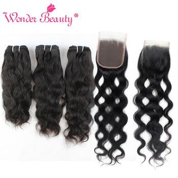 Natural Wave Bundles With Closure Wonder Beauty Brazilian Hair Weave Bundles With Closure Human Hair Bundle