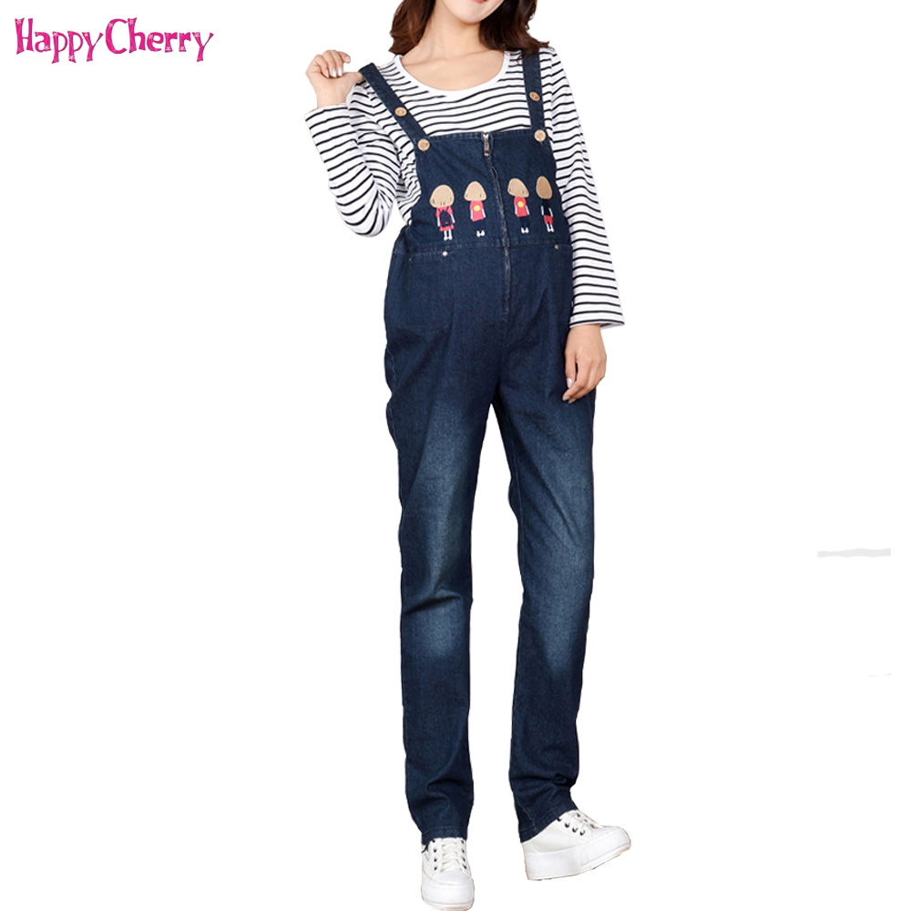 Happy Cherry Maternity Women Jeans Overalls Pregnant Pants Autumn Spring Winter For Pregnancy Women Wear Care Belly Pants Jeans