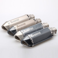 Universal 51MM Motorcycle Akrapovic Exhaust Pipe With Muffler Dirt Bike Pot Adapters Escape Silencer For Most